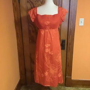 Vintage 70s Hawaiian smocked orange sun dress